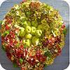 Herfstkrans, maken, met, hortensia, asparagus, lotus, bloemen, klimop, sierappels