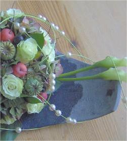 bloemstuk, rozen, soorten, calla's, hortensia, najaar, siervruchten, appeltjes, kleine, sierappeltjes
