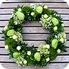 adventskrans, groene, tinten, maken, kerstballen