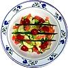 Recepten, courgettes, Chinese kool, gerookte zalm, voorgerecht, Frisse, zomersalade, courgettes