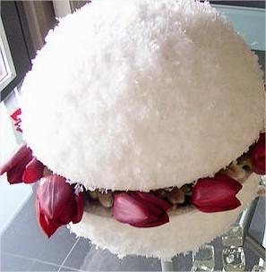 bloembinden, bloemen, bloemstuk, maken, online bloemschikken, sneeuw, bol, knutselen
