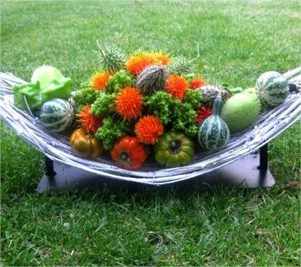 bloemstuk, herfst, najaar, september, bloemschikken, sierfruit, vruchten, sate, bloemen, zomer