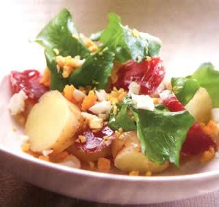 Salade met aardappelen, Lauw broccolislaatje met aardappelen en hazelnoten, Slaatje van aardappelen met rauwe ham, slaatje patat, slaatje aardappel