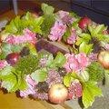 Herfstkrans met tuinmaterialen