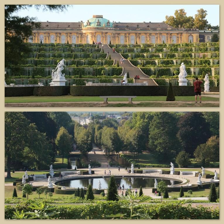 Het Schloss Sanssouci met ervoor de Weinbergterrassen