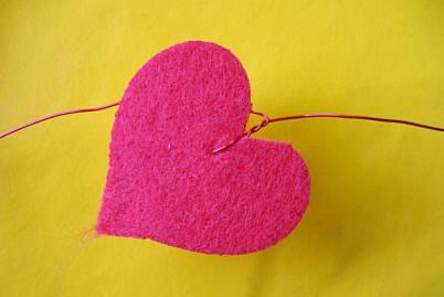valentijnshart op draad