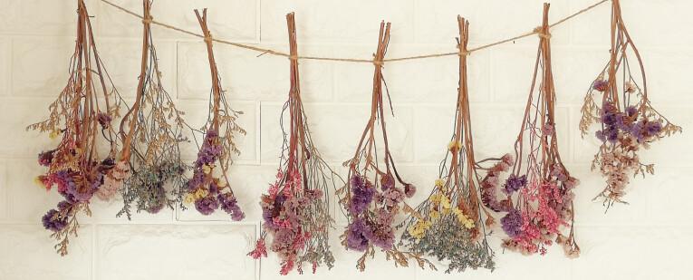 Bloemen drogen aan de lucht