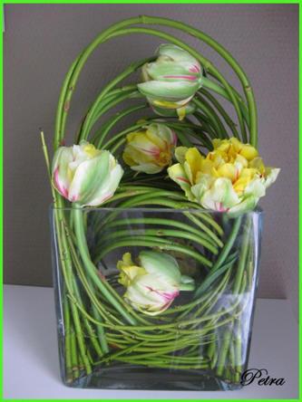 klemtechniek bij het bloemschikken
