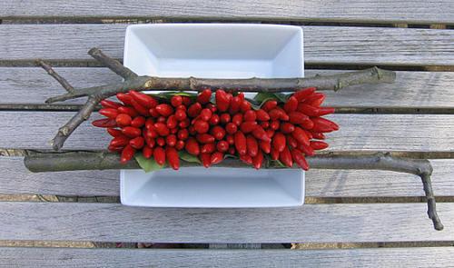 bloemstuk maken met pepers en paprika
