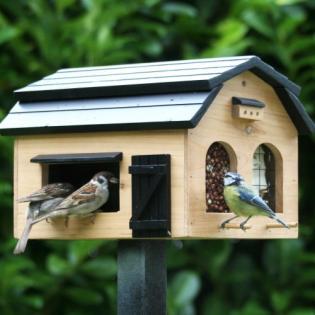 Voederschuur en vogellokker -