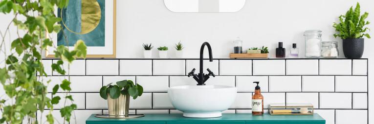 Een badkamer met planten