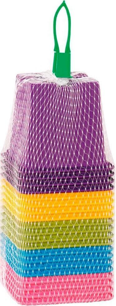 Set vierkante potten in kleurenmix