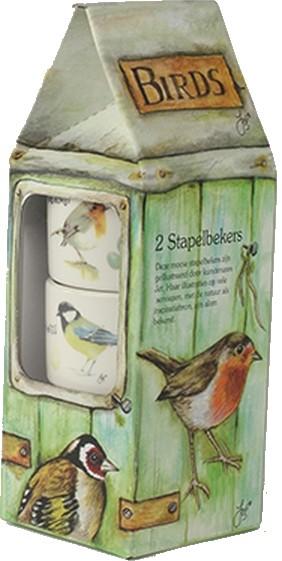 Stapelbekers kop met vogels
