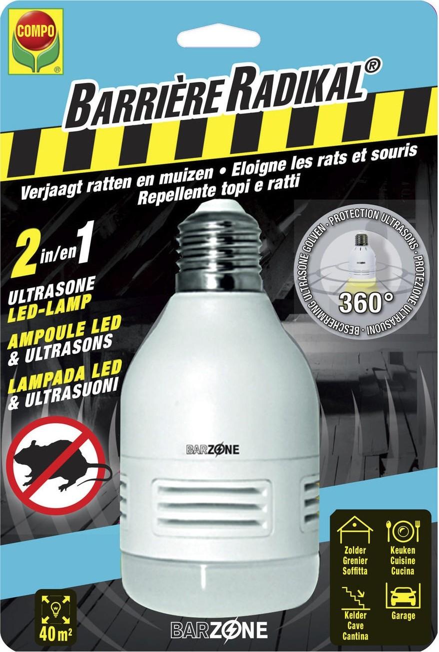 Ultrasone ratten en muizenverjager met LED lamp