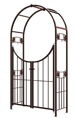 Rozenboog Hanging Basket met hek bronslook