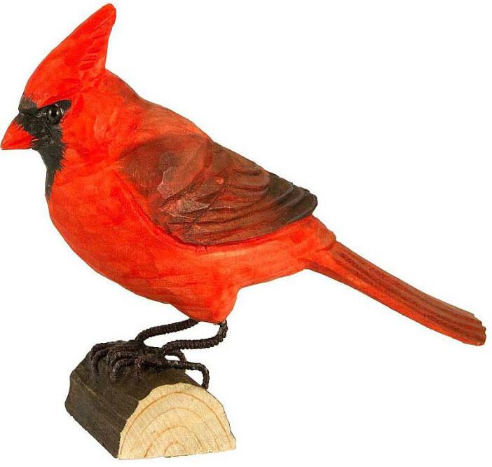 Rode kardinaal in lindenhout handgemaakt
