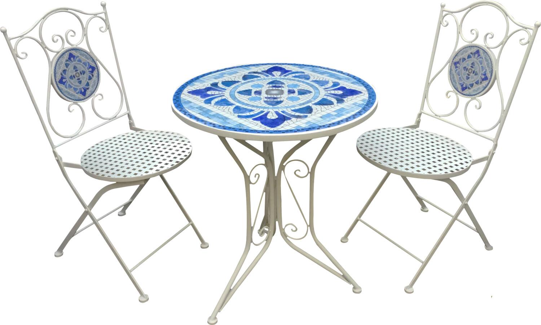 Bistroset met twee stoelen witblauwe mozaek