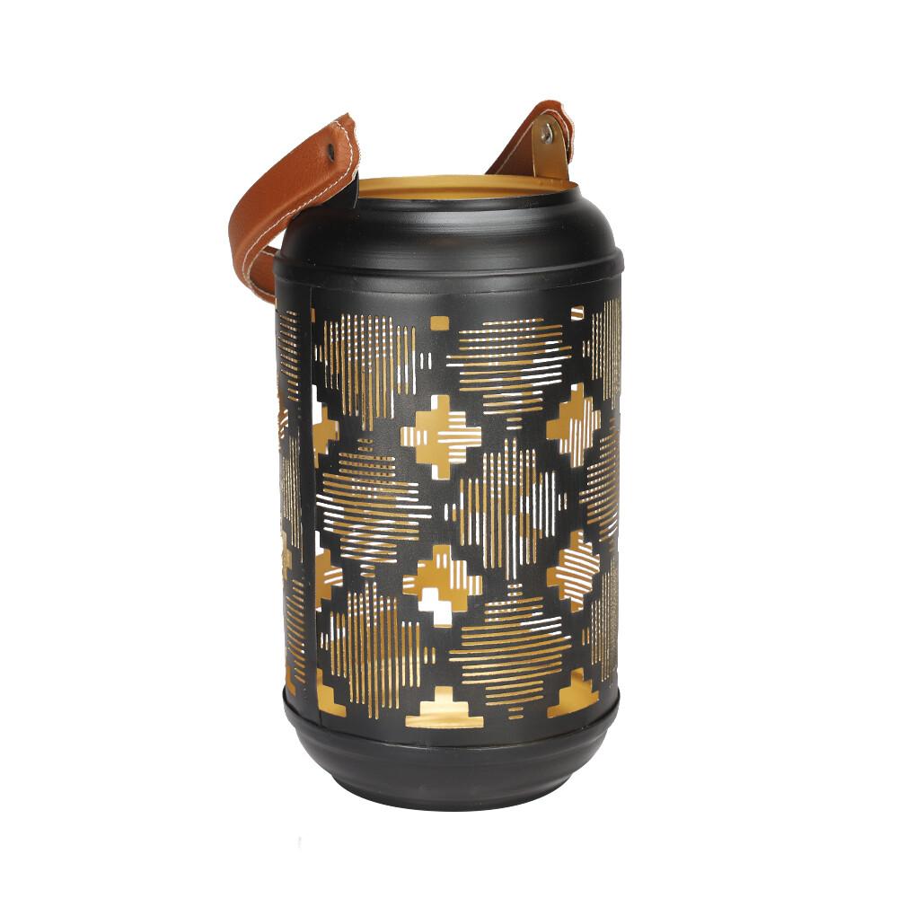 Lantaarn zwartgoud 38 x 20 cm