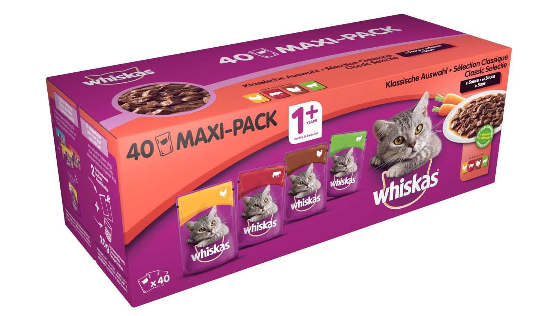 Whiskas Maaltijdzakjes 1 Classic Selection Vlees 40 x 100g