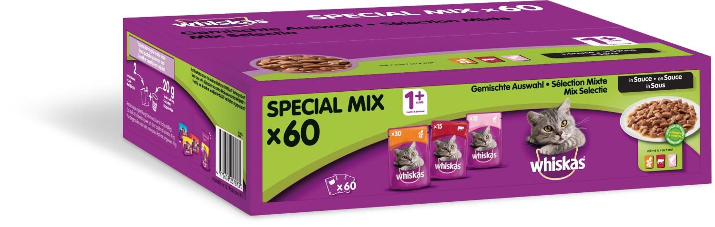 Whiskas Maaltijdzakjes 1 Mix Maxipack 60 x 100 g