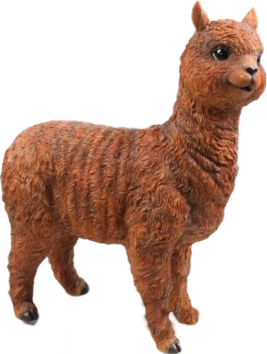 Alpaca tuinbeeld bruin levensecht