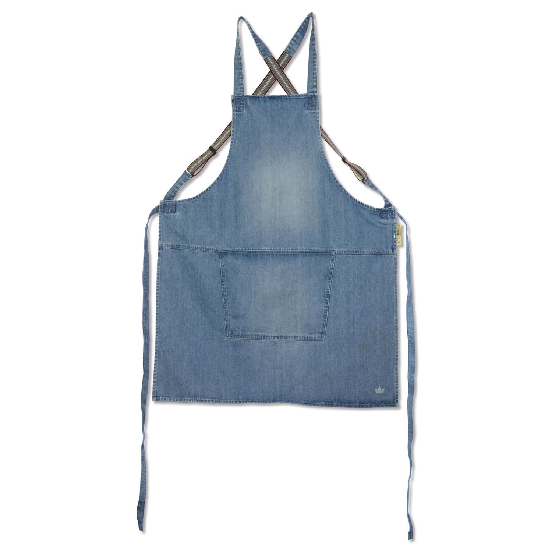 Dutchdeluxes schort in jeans met bretellen blauw