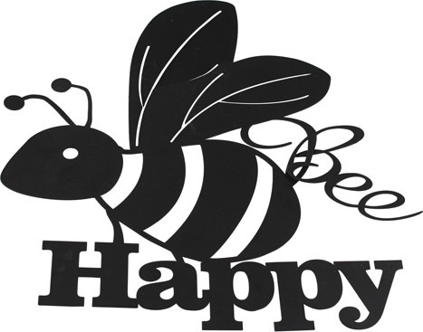 Bee Happy muurdecoratiemetaal