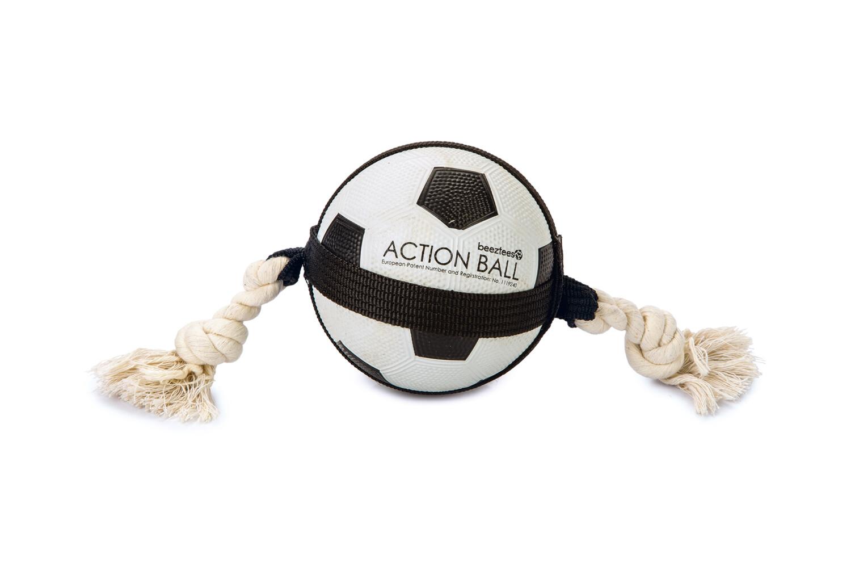 Hondenspeelgoed action voetbal met touw 125 cm
