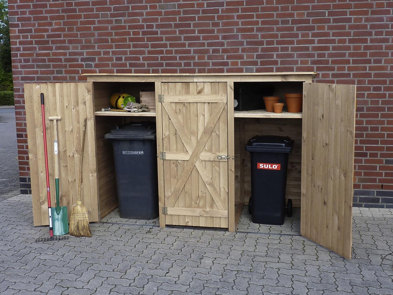 Berging voor afvalcontainer driedelig 250 x 101 x 161 cm