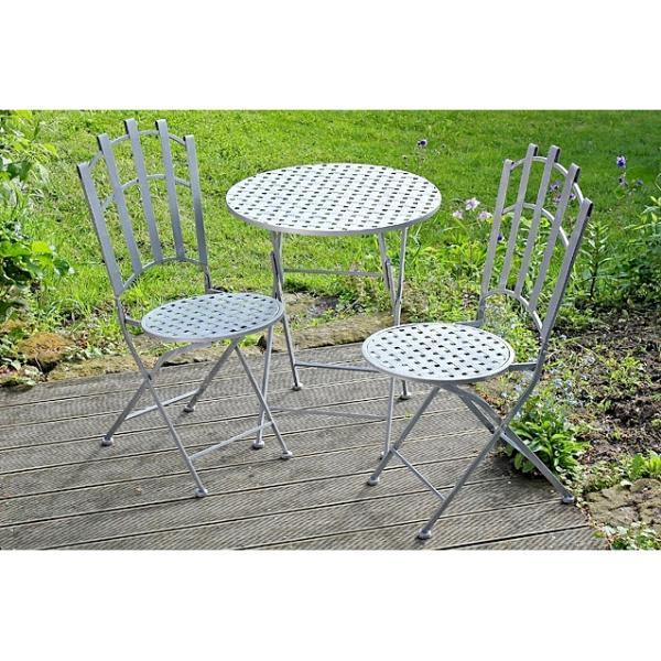 Bistrotafel met twee stoelengrijs patine