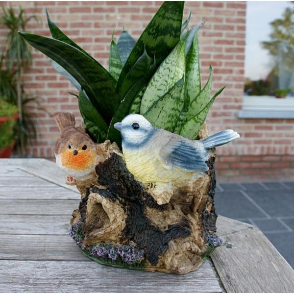Originele bloempot met vogels