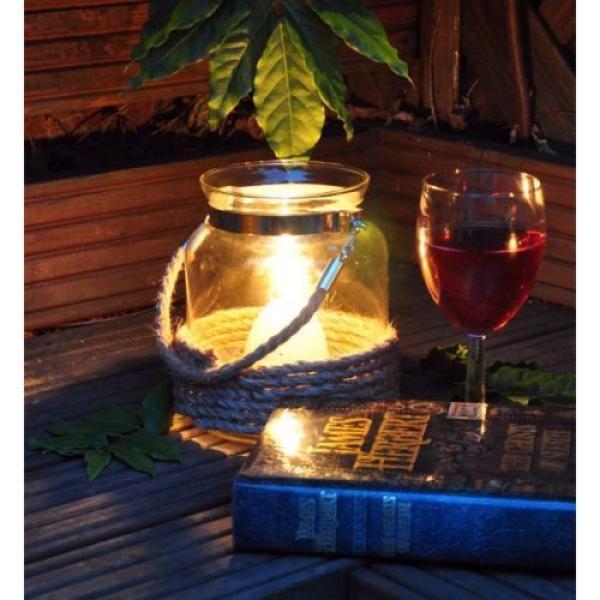 Bokaal voor kaarsen met jutedecoratie