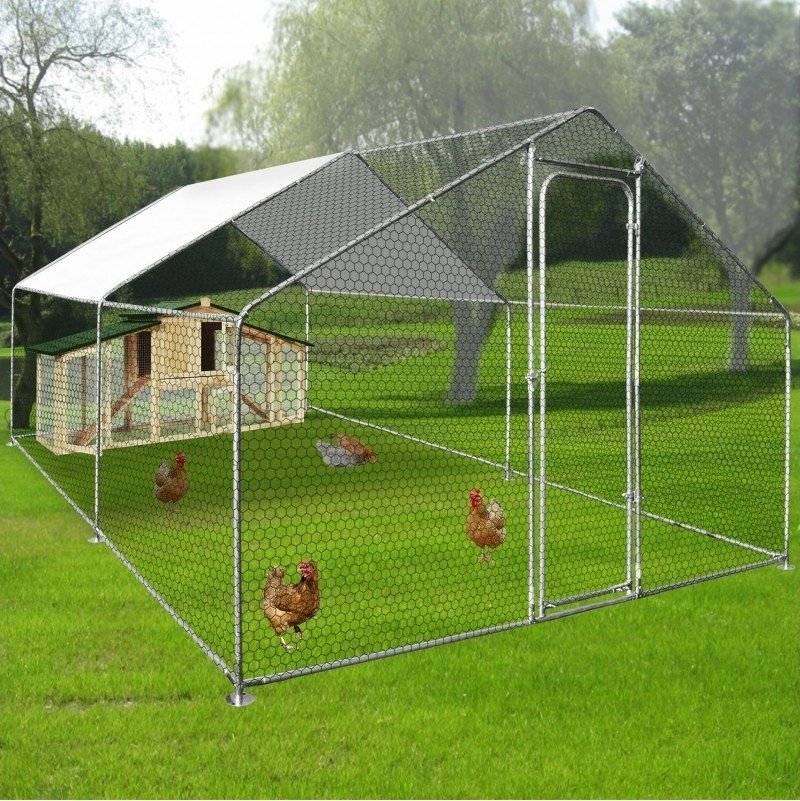 Buitenren voor kippenvolire met afdekzeil 12 m2