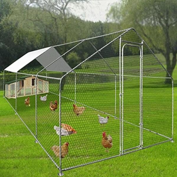 Buitenren voor kippenvolire met afdekzeil 18 m2