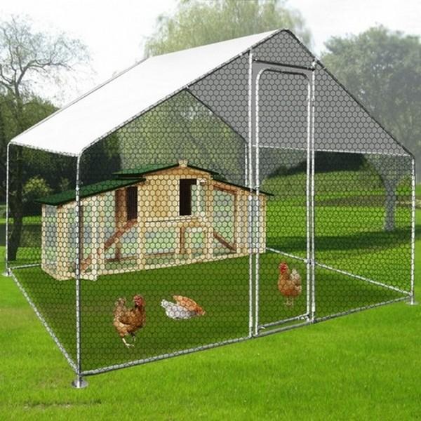 Buitenren voor kippenvolire met afdekzeil 6 m2