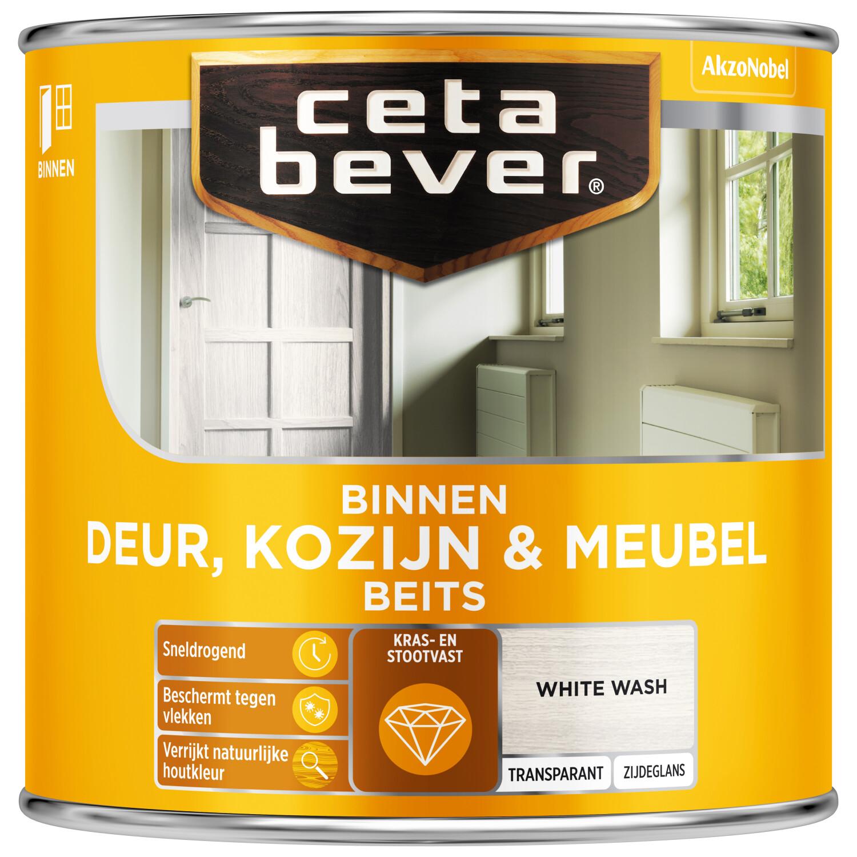 Cetabever Binnenbeits Deur Kozijn Meubel transparant zijdeglans white wash 250 ml