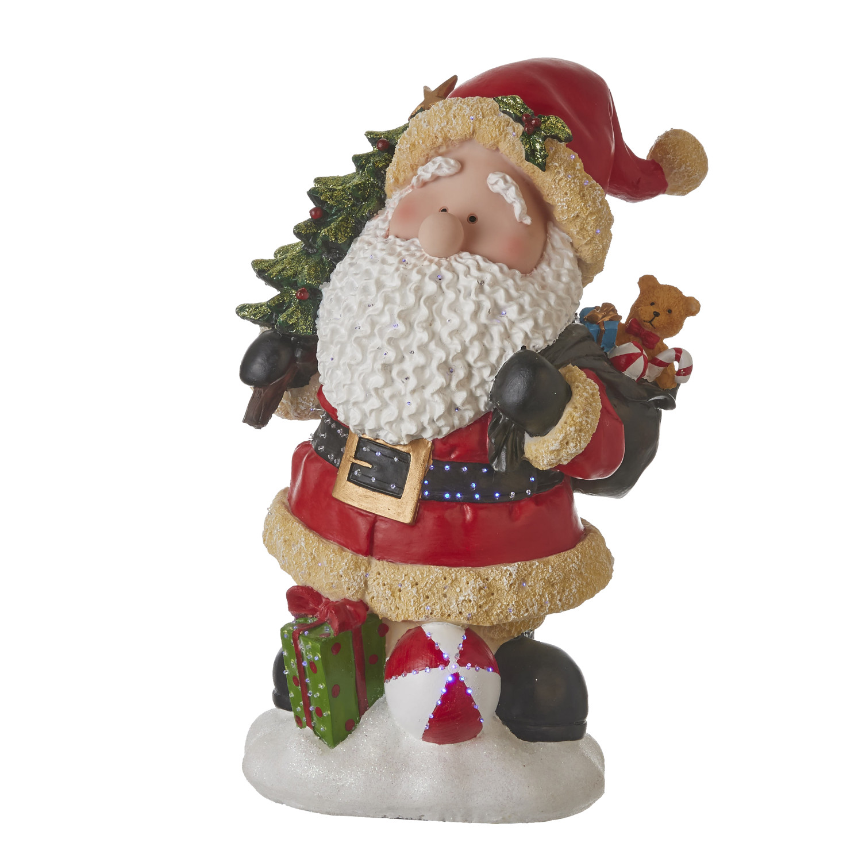Kerstman polyresin met ledverlichting