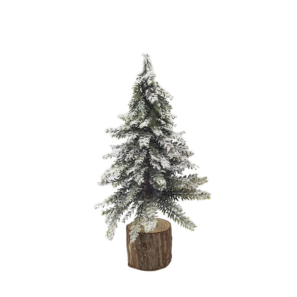 Dennenboom Snow op houten voet 28 cm