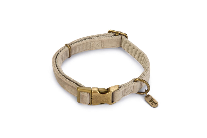 Halsband hond Velura fluweel grijs 3550 cm Designed by Lotte