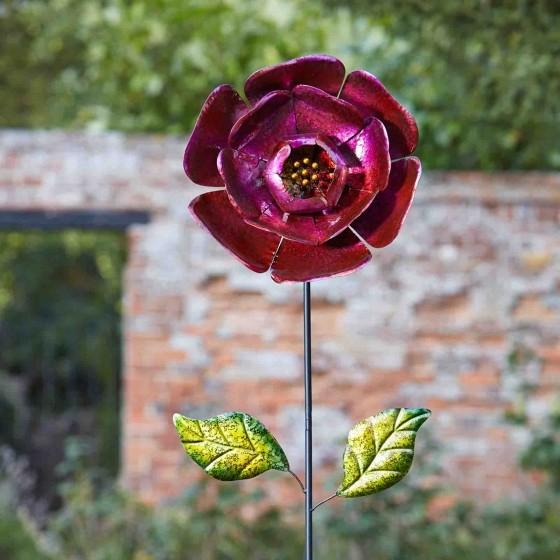 Fuchsia bloemdeco tuinprikker