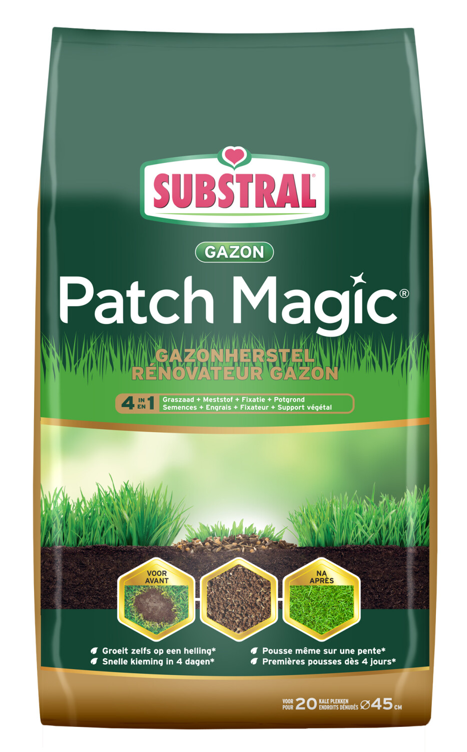 Gazonherstel patch magic 4 in 1 Graszaadmeststoffixatiegrond 15KG