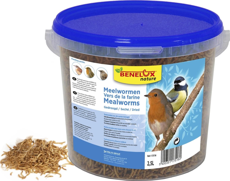 Gedroogde meelwormen emmer 25 liter