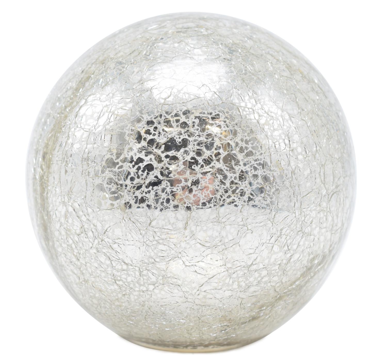 Glasbolgekrakeleerd met led 10 cm