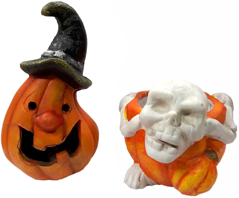 Halloween pompoen en skelet theelichthouder