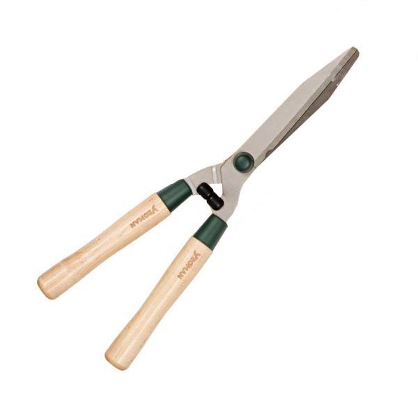 Heggenschaar met houten handgrepen
