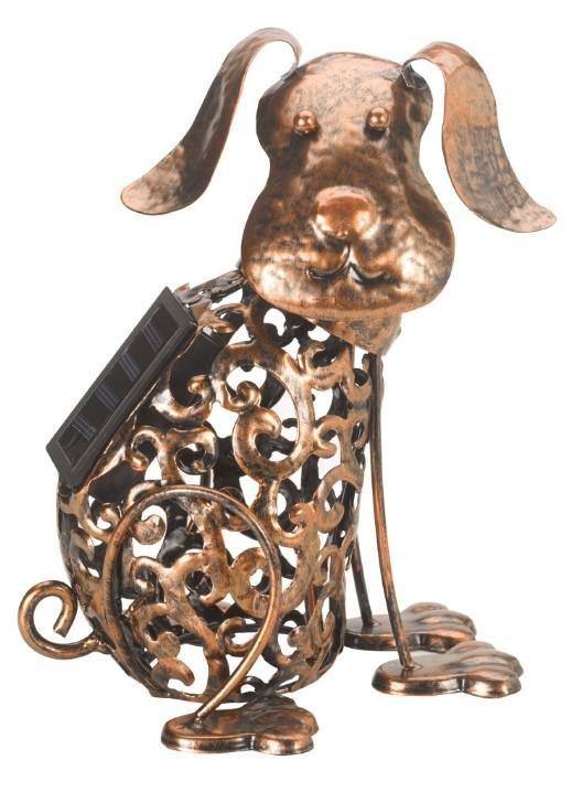 Hond met wiebelkop en solarverlichting