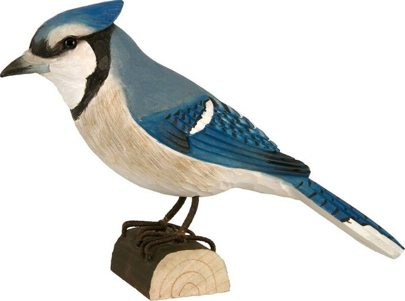 Blauwe gaai Blue Jay in lindenhout handgemaakt