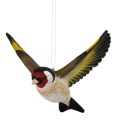 Houten vogel vliegende distelvink