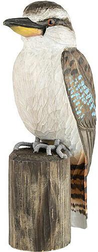 Kookaburra ijsvogel in lindenhout handgemaakt