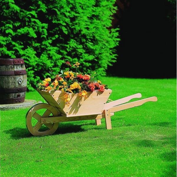 Plantenbak houten kruiwagen